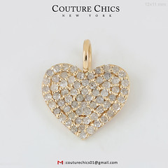 Solid 18k Yellow Gold Natural Diamond Pave Heart Charm Pendant Handmade Jewelry (couturechics.facebook1) Tags: solid 18k yellow gold natural diamond pave heart charm pendant handmade jewelry