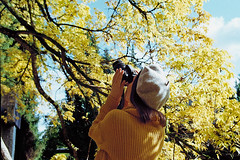 Moment collector (Ralaphotography) Tags: film analogue analog canon 35mm photography woman girl sky october golden leaves yellow tree fall autumn