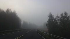 """Quo Vadis"" (Seppo53) Tags: road morning fog finland kauhajoki summer forest empty field railing highway"