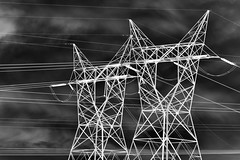 Lines (WilliamND4) Tags: negative blackandwhite monochrome clouds electrical electricity lines powerlines nikon d810
