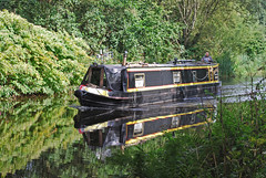 Narrowboat reflected (Halliwell_Michael ## Offline mostlyl ##) Tags: brighouse westyorkshire nikond40x 2019 calderhebblecanal narrowboats reflection trees towpath reflectionslovers landscapes