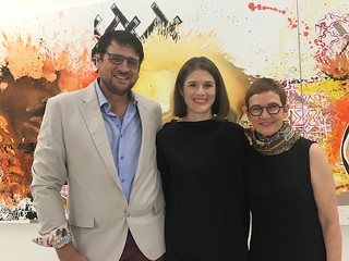 Brook Dorsch with wife Tyler and artist Elizabeth Gordon at her opening at Emerson Dorsch