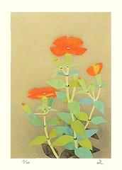 Catchfly (Japanese Flower and Bird Art) Tags: flower catchfly lychnis sieboldii caryophyllaceae fumiko hori modern lithograph print japan japanese art readercollection