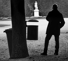 ashtray XXL (heinzkren) Tags: silhouette mann man schönbrunn wien vienna park smoke sculpture schwarzweis blackandwhite bw sw autum fall noiretblanc biancoetnero canon eosr street streeetphotography candid dustbinn mülleimer cigarette break pause tree baum