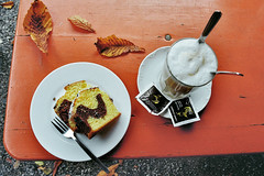 October afternoon (Ralaphotography) Tags: beergarden analogue film 35mm photography analog cafe outdoor cake coffee leaves october autumn fall