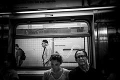 Creeping (Nun Nicer Artist) Tags: monochrome 35mmstreetphotography travel subway streetphotography 35mm blackandwhite manhattan nunnicer nyc bnw citylife transportation newyork