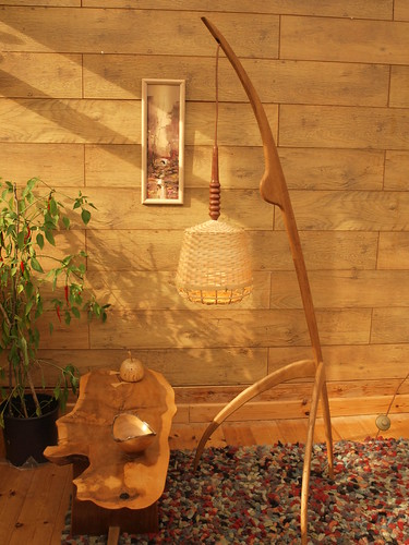 "Large mid century style Praying Mantis floor lamp in English Oak & Rosewood. • <a style=""font-size:0.8em;"" href=""http://www.flickr.com/photos/69514980@N03/48897404858/"" target=""_blank"">View on Flickr</a>"