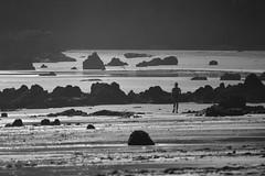 Un paseo en blanco y negro (Kasabox) Tags: blanco negro black white bn bw cantabria españa people persona silueta silhouette sueño dream playa beach rocas piedras stone