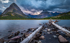 Sunset At Swiftcurrent Lake - Many Glacier Area, Glacier National Park (j-rye) Tags: fall glaciernationalpark landscape swiftcurrentlake clouds lake mountains nature rocks sky sunset water sonyalpha sonya7rm2 ilce7rm2 mirrorless rokinon12mmf20