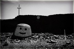 Hells Bells, Greenwood, British Columbia (Crusty Da Klown) Tags: bw white canada black bc britishcolumbia greenwood kootenays hellsbells summer man monochrome face rock digital canon industrial lego slag contrasts smelter