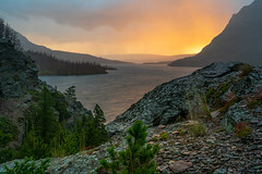 Sunrise Rain On Sun Point - Saint Mary Lake, Glacier National Park (j-rye) Tags: fall glaciernationalpark landscape sunpoint clouds nature rain sunrise trees water sonyalpha sonya7rm2 ilce7rm2 mirrorless