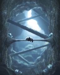 ECHOES (@phanttoni) Tags: phanttoni photo manipulation photoshop outdoor panda lonely blue beautiful imagination edit animal wildlife forest cave rock