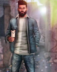 [ 📷 - 100 ] (insociable.sl) Tags: sun light ruins jean polarbear rat bear icecream beard boy man male edit sl secondlife