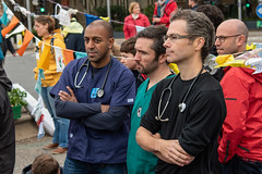 Three doctors worried about the future and taking part in blocking of Lambeth Bridge by Extinction Rebellion, London