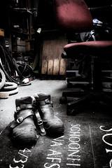 The welder has left the building (vale0065) Tags: red rood shoes schoenen welder welding lassen lasser work werk tekst text chair stoel depaniek timecircus bar summerbar zomerbar eilandje kattendijkdok antwerpen antwerp belgium belgië scheldt schelde