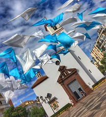 Flags are out in Fuengirola (Andreadm66) Tags: spain flags costadelsol fuengirola church catholicchurch blue townsquare