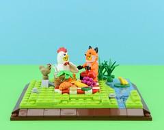 Vegan picnic😋 (Alex THELEGOFAN) Tags: legography lego minifigure minifigures minifig minifigurine minifigs minifigurines nature vignette fox chicken picnic food green water blue vegan animal