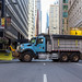 Large City of Chicago truck blocking an empty street as a security measure during the Columbus Day Parade in Downtown Chicago