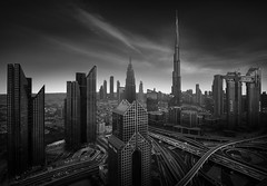 Dubai (Billy Currie) Tags: dubai burj khalifa modern architecture city urban architect black white middle east desert uae motorway hotel