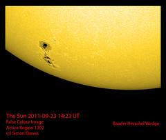 Sun_2011-09-23_14-23 AR1302 colourised (simon.dawes) Tags: astronomy solar sun sunspot whitelight