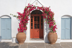 Sifnos Church Entrance (josullivan.59) Tags: 2019 agean greece greek greekislands island june orthodox sifnos architecture church cyclades day detail door europe flowers historical islands light old outdoor outside summer texture travel wallpaper white weather