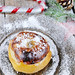 Bratapfel, snow on baked apples for Christmas