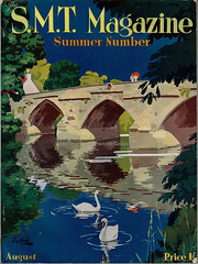 SMT Magazine - Summer Number August 1935, illustrated by Cuthill (mikeyashworth) Tags: scottishmotortraction smt smtmagazine august1935 edinburgh scotland illustration bridge river summer magazinecover 1930s cuthill graphicdesign publicity
