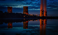 The China Syndrome (Kathy Macpherson Baca) Tags: architecture nuclear accident threemileisland fuel energy nightphotography river meltdown bluehour earth radioactive world tripod planet pennsylvania