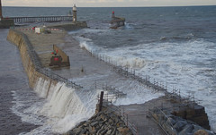 D23140.  Spring Tide. (Ron Fisher) Tags: yorkshire whitby northyorkshire uk greatbritain sea england coast pier seaside europa europe waves pentax unitedkingdom tide gb dslr yorkshirecoast pentaxk3