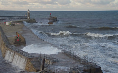 D23137.  Spring Tide. (Ron Fisher) Tags: whitby yorkshire northyorkshire sea seaside waves tide pier england gb uk greatbritain unitedkingdom europe europa coast yorkshirecoast pentax pentaxk3 dslr