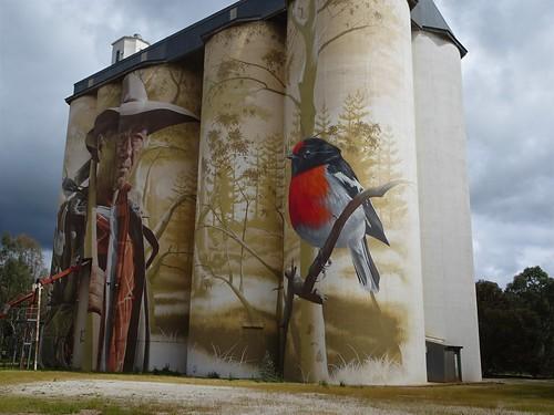 Wirrabara. Silo art on the silos that once stood beside the railway station. Artist was Sam Bates alias Smug of Melbourne.