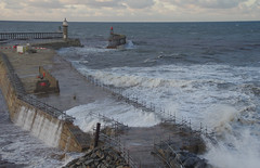 D23139.  Spring Tide. (Ron Fisher) Tags: whitby yorkshire northyorkshire sea seaside waves tide pier england gb uk greatbritain unitedkingdom europe europa coast yorkshirecoast pentax pentaxk3 dslr