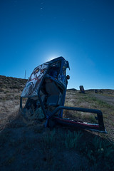 Sasquatch Moon (Nocturnal Kansas) Tags: night nocturnal moon full d800 nikon led1 protomachines forest car international nevada longexposure lightpainting nightphotography