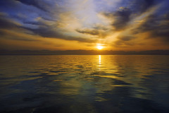 Gulf (Pawel Wietecha) Tags: bay sea water landscape clouds sunset sun sky blue red yellow orange travel trip color light colors vivid outside outdoor journey coth5 national gulfofaqaba gulf aqaba jordan taba egypt