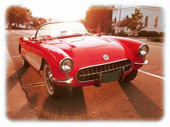 Saw this beauty while on vacation and couldn't resist taking a picture of it! (brandonw6622) Tags: red chevrolet corvette chevroletcorvette classiccars classic vintage old sunset whitewall street musclecar american