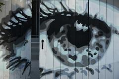 Keeping an eye on the front gate.JPG (remiklitsch) Tags: art gate eye house remiklitsch nikon city urban la streetart blue fence