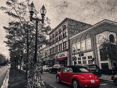 Redbug (MaryMarthaK) Tags: imagemanipulations flickritis red blackandwhite sepia bug volkswagen downtown beetle autumn flickrtoday fotografiando digitalmanipulation