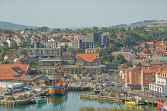 _20A9934 Dock Head from Caemons Trod (Leeds Lad at heart) Tags: yorkshire whitby view landscape town ship dock river buildings architecture endeavour boat