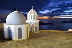 Fira, Santorini (Seventh Heaven Photography - (Travel)) Tags: fira santorini island greece greek cyclades aegean sunset dusk church dome cross sky sea landscape caldera saint mark evangelist