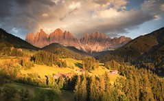 Funes Valley (Kevin.Grace) Tags: italy funes valley dolomites dolomiti mountains odle sunset trees clouds