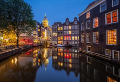 Amsterdam (Mario Visser) Tags: amsterdam redlightdistrict metropole netherlands city night europe water reflections windows blue bluehour church