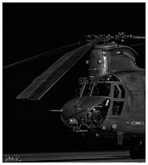 The Blade (PhilR1000) Tags: chinook helicopter raf royalairforce boeingch47chinook military bw monochrome blackwhite odiham timelineevents cockpit rotaryblades tandemrotor heavylifthelicopter