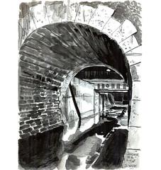 Ink014 (sylvain.cnudde) Tags: ink inktober inksketch encre usk urbansketch urbansketcher urbansketching uskparis urbansketchers citysketch croquis city rain pluie street sketch tunnel