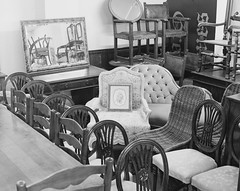 Picture rounded by chairs and more chairs (Attila Pasek (Albums!)) Tags: chair picture analogue hp5 bronicasqa shop blackandwhite mediumformat stock camera 120film vintage antique ilford film bw