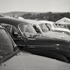 Row of classic cars (Douglas Jarvis) Tags: show malham ilford fp4 film classic car 645 mamiya