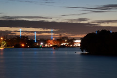 Lake lights (Paul Threlfall) Tags: albertparklake bluehour melbourne bluepoles clouds water swan