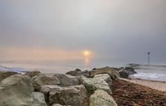 Misty Sunrise (nicklucas2) Tags: seascape beach mist sea sand seaside solent seaweed wave groyne avonbeach mudeford dorset