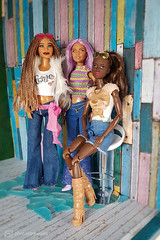 the fashion girls (photos4dreams) Tags: photos4dreams p4d photos4dreamz yoga barbie doll toy puppe madetomove dress mattel barbies girl play fashion fashionistas outfit kleider mode puppenstube tabletopphotography aa africanamerican darkskin canoneos5dmark3 chair stuhl violett hair purple lilac