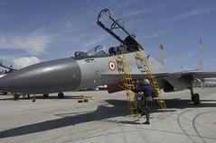 Indian Air Force maintainers prepare their Sukhoi Su-30MKI (NATO reporting name: Flanker-H) (aeroman3) Tags: redflag nellisafb nellisairforcebase nevada unitedstatesofamerica