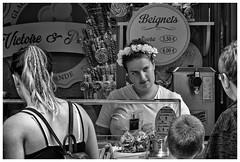 Guérande - Beignets (marc.demeuleneire) Tags: selecteren bw street market france bretagne travel